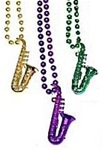 36 inch Metallic Mardi Gras Saxophone Necklace