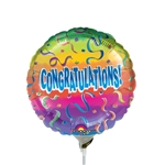 9 inch CONGRATS! Rainbow Round Foil Balloon