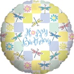 Dragonflies 18 inch Birthday Foil Balloon