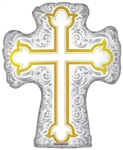 28 inch Silver and Gold Cross