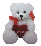 8 inch White Bear with Red Embroidered Heart