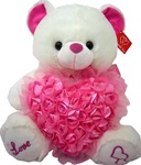 14 inch Bear with Rose Heart and Pink Sequins