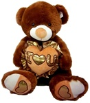 14 inch Dark Brown Bear with Gold-Trimmed Heart