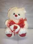 9 inch Red & White Bear with Hat & Heart