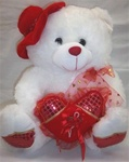 16 inch WHITE Bear with Red Hat and Heart