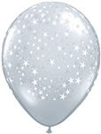 16 inch STARS-A-Round on DIAMOND CLEAR latex balloon