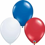 11in Qualatex PATRIOTIC ASSORTMENT latex balloons are high quality balloons that decorators rely on year round by Qualatex.  A perfect assortment for the summer!  Ruby Red & Sapphire Blue with White