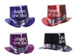Foil Top Hat with Glitter HAPPY NEW YEAR Print