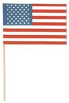 6in x 9in Cotton USA Flag with Wood Stick