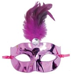 Fuchsia Mask with Feather