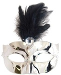 Silver Mask with Feather