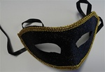 BLACK Glittered Half Mask with Gold Trim