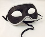 BLACK Glittered Half Mask with SILVER Trim
