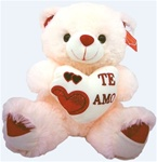 16 inch Ivory Bear with Te Amo Heart and Sound