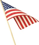 8in x 12in Cotton USA Flag with Wood Stick
