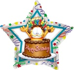 Garfield the Cat Foil/ Mylar Happy Birthday Cake, star shaped balloon is a great value in a licensed balloon