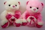 16 inch Two Color Bear with Lacey Heart and Sound
