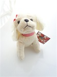 7 inch White Plush Puppy with Bow