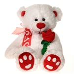 14 inch White Cuddle Bear with Rose