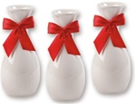 6 inch Ceramic Vase with Red Ribbon