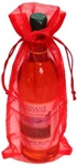 RED Sheer Organza Bottle Bag with Satin Draw Cord