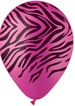 12 inch Party Loons Rose Zebra Stripes