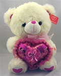 12 inch Bear with Pink Sequined Heart