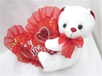 9 Inch White Bear Holding Sequined RED Heart
