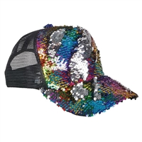 9b2fafa38ff06 Rainbow Flip-Sequin on Black Mesh Hat